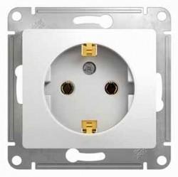 Розетка Schneider Electric GLOSSA, скрытый монтаж, с заземлением, белый, GSL000143