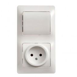 Блок: выключатель 1-клавишный и розетка Schneider Electric GLOSSA, скрытый монтаж, белый, GSL000160