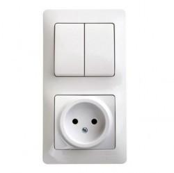 Блок: выключатель 2-клавишный и розетка Schneider Electric GLOSSA, скрытый монтаж, белый, GSL000172