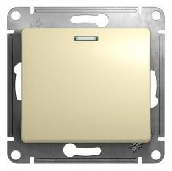 Выключатель 1-клавишный кнопочный Schneider Electric GLOSSA, с подсветкой, скрытый монтаж, бежевый, GSL000217