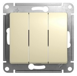 Выключатель 3-клавишный Schneider Electric GLOSSA, скрытый монтаж, бежевый, GSL000231