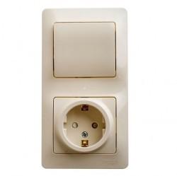 Блок: выключатель 1-клавишный и розетка Schneider Electric GLOSSA, скрытый монтаж, бежевый, GSL000270