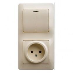 Блок: выключатель 2-клавишный и розетка Schneider Electric GLOSSA, скрытый монтаж, бежевый, GSL000273