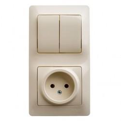 Блок: выключатель 3-клавишный и розетка Schneider Electric GLOSSA, скрытый монтаж, бежевый, GSL000276