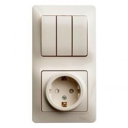 Блок: выключатель 3-клавишный и розетка Schneider Electric GLOSSA, скрытый монтаж, бежевый, GSL000278