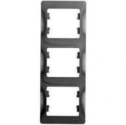 Рамка 3 поста Schneider Electric GLOSSA, вертикальная, алюминий, GSL000307