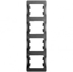 Рамка 4 поста Schneider Electric GLOSSA, вертикальная, алюминий, GSL000308