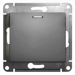 Выключатель 1-клавишный кнопочный Schneider Electric GLOSSA, с подсветкой, скрытый монтаж, алюминий, GSL000317