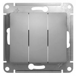 Выключатель 3-клавишный Schneider Electric GLOSSA, скрытый монтаж, алюминий, GSL000331
