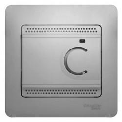 Термостат для теплого пола Schneider Electric GLOSSA, с датчиком, алюминий, GSL000338
