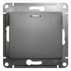 Переключатель 1-клавишный Schneider Electric GLOSSA, с подсветкой, скрытый монтаж, алюминий, GSL000363