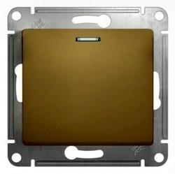 Выключатель 1-клавишный кнопочный Schneider Electric GLOSSA, с подсветкой, скрытый монтаж, титан, GSL000417