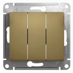 Выключатель 3-клавишный Schneider Electric GLOSSA, скрытый монтаж, титан, GSL000431