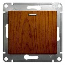 Выключатель 1-клавишный кнопочный Schneider Electric GLOSSA, с подсветкой, скрытый монтаж, дуб, GSL000517