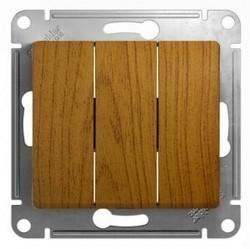 Выключатель 3-клавишный Schneider Electric GLOSSA, скрытый монтаж, дуб, GSL000531