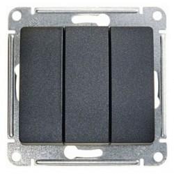 Выключатель 3-клавишный Schneider Electric GLOSSA, скрытый монтаж, антрацит, GSL000731