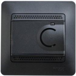 Термостат для теплого пола Schneider Electric GLOSSA, с датчиком, антрацит, GSL000738