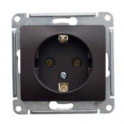 Розетка Schneider Electric GLOSSA, скрытый монтаж, с заземлением, антрацит, GSL000743