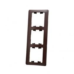 Рамка 3 поста Schneider Electric GLOSSA, вертикальная, шоколад, GSL000807