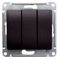 Выключатель 3-клавишный Schneider Electric GLOSSA, скрытый монтаж, шоколад, GSL000831