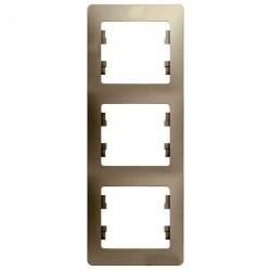 Рамка 3 поста Schneider Electric GLOSSA, вертикальная, молочный, GSL000907