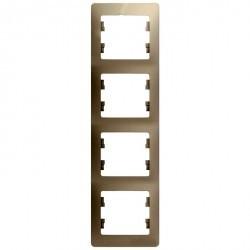 Рамка 4 поста Schneider Electric GLOSSA, вертикальная, молочный, GSL000908
