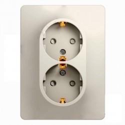 Розетка двухместная Schneider Electric GLOSSA, скрытый монтаж, с заземлением, со шторками, молочный, GSL000926