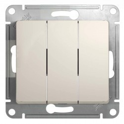 Выключатель 3-клавишный Schneider Electric GLOSSA, скрытый монтаж, молочный, GSL000931