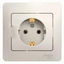 Розетка Schneider Electric GLOSSA, скрытый монтаж, с заземлением, молочный, GSL000942