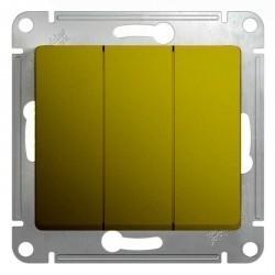 Выключатель 3-клавишный Schneider Electric GLOSSA, скрытый монтаж, фисташковый, GSL001031
