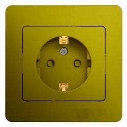 Розетка Schneider Electric GLOSSA, скрытый монтаж, с заземлением, со шторками, фисташковый, GSL001044
