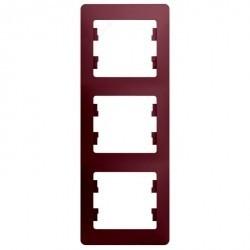 Рамка 3 поста Schneider Electric GLOSSA, вертикальная, баклажановый, GSL001107