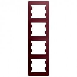 Рамка 4 поста Schneider Electric GLOSSA, вертикальная, баклажановый, GSL001108