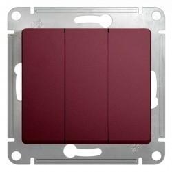Выключатель 3-клавишный Schneider Electric GLOSSA, скрытый монтаж, баклажановый, GSL001131