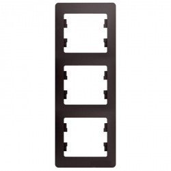 Рамка 3 поста Schneider Electric GLOSSA, вертикальная, графит, GSL001307