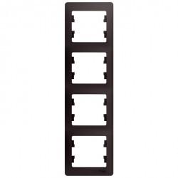 Рамка 4 поста Schneider Electric GLOSSA, вертикальная, графит, GSL001308