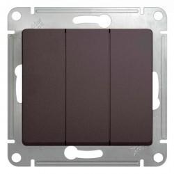 Выключатель 3-клавишный Schneider Electric GLOSSA, скрытый монтаж, графит, GSL001331