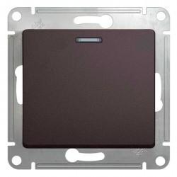 Переключатель 1-клавишный Schneider Electric GLOSSA, с подсветкой, скрытый монтаж, графит, GSL001363