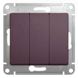 Выключатель 3-клавишный Schneider Electric GLOSSA, скрытый монтаж, сиреневый туман, GSL001431