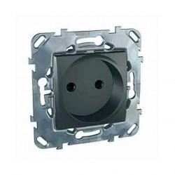 Розетка Schneider Electric UNICA TOP, скрытый монтаж, с заземлением, со шторками, графит, MGU5.033.12ZD