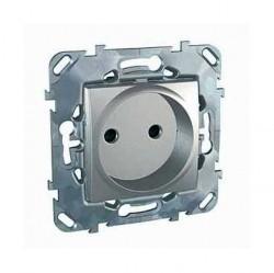 Розетка Schneider Electric UNICA TOP, скрытый монтаж, с заземлением, со шторками, алюминий, MGU5.033.30ZD