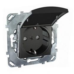 Розетка Schneider Electric UNICA TOP, скрытый монтаж, с заземлением, с крышкой, со шторками, графит, MGU5.037.12TAZD