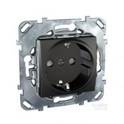 Розетка Schneider Electric UNICA TOP, скрытый монтаж, с заземлением, со шторками, графит, MGU5.037.12ZD