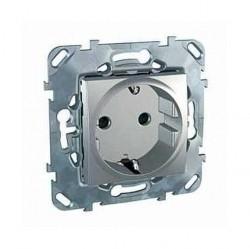 Розетка Schneider Electric UNICA TOP, скрытый монтаж, с заземлением, со шторками, алюминий, MGU5.037.30ZD