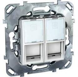 Розетка 2xRJ45 Cat.6 Schneider Electric UNICA, белый, MGU5.2424.18ZD