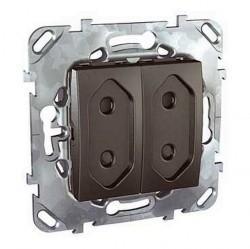 Розетка двухместная Schneider Electric UNICA TOP, скрытый монтаж, с заземлением, со шторками, глянцевый, MGU5.3131.12ZD