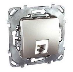 Розетка 1xRJ11 Schneider Electric UNICA TOP, алюминий, MGU5.492.30ZD