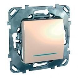 Выключатель 1-клавишный Schneider Electric UNICA, с подсветкой, скрытый монтаж, бежевый, MGU5.201.25NZD