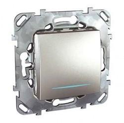 Выключатель 1-клавишный Schneider Electric UNICA TOP, с подсветкой, скрытый монтаж, алюминий, MGU5.201.30NZD