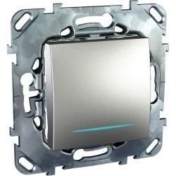 Переключатель 1-клавишный Schneider Electric UNICA TOP, с подсветкой, скрытый монтаж, алюминий, MGU5.203.30NZD